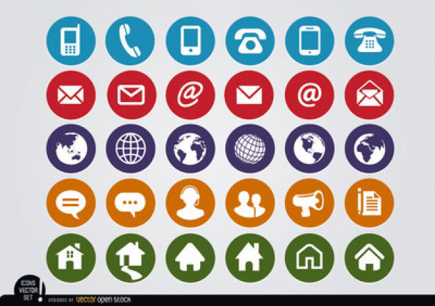 Rounded-contact-icons-vector-pack